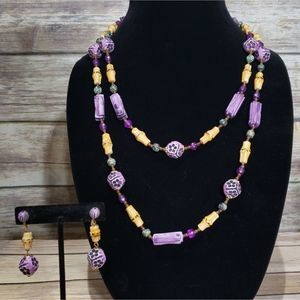 Vtg handmade funky necklace and clip earring set